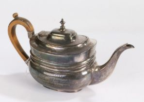 Edward VII silver teapot, London 1902, maker S W Smith & Co, the fruitwood handle with kick, the