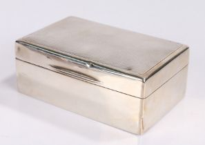 George V silver cigarette box, Birmingham 1924, maker Mappin & Webb, with engine turned exterior,