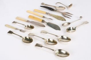 Silver and plated flatware, to include two silver fish knives with mother of pearl and bone handles,