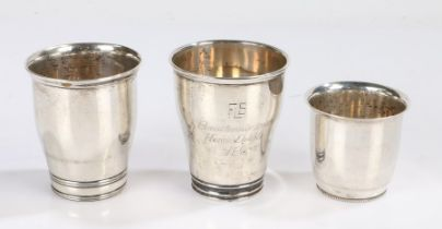 Three 20th Century Danish silver beakers, two awarded as tennis prizes, dated 1940 and 1943, the