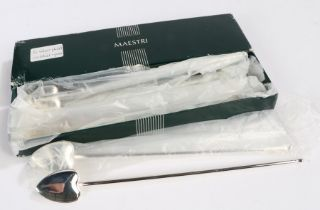 Set of six Maestri silver plated sundae spoons, with spade form bowls and long handles, boxed