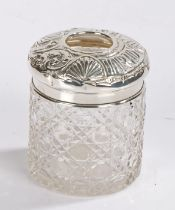 Edward VII silver mounted glass hair tidy, Birmingham 1904, maker T H Hazlewood & Co, the circular