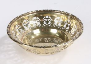 George V silver sweetmeat dish, London 1928, maker William Comyns & Sons Ltd, the rope twist