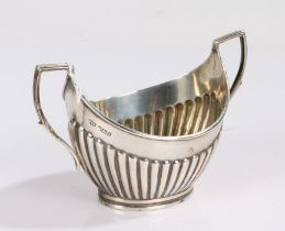 Victorian silver sugar bowl, London 1900, maker Mappin & Webb, with angular reeded handles and