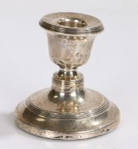 Edward VII silver candlestick, Sheffield 1908, makers mark rubbed, with reeded sconce and raised