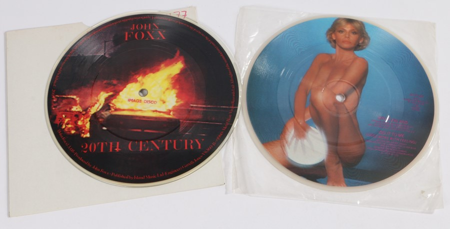 """2 x 7"""" Picture Discs. Britt Ekland - Do It To Me (Once More With Feeling) (JET P 161). John Foxx -"""