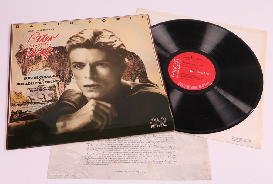 David Bowie - Narrates Prokofiev's Peter And The Wolf LP (RCA, RL 12743, Red Seal) with insert.