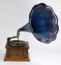 Table top Gramophone with oak case and blue Metal speaker Horn.