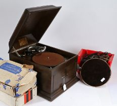 Oak cased Gramola Gramophone, 2 x Lumar toy gramophones together withGramophone parts and