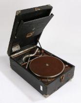 HMV portable Gramophone in black case.