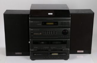 Akai AC-M55 Hifi stereo system, consisting of a record player, tuner, amplifier, cassette deck and a