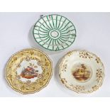 19th Century Derby porcelain plate, painted with a ruin and two figures fishing to the foreground,
