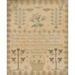 19th Century needlework sampler, with central verse surrounded by foliage and a basket, inscribed