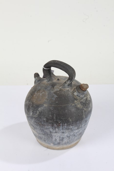 """Stoneware flask stamped """"ROCA VERDU"""" to the handle, 25cm high"""