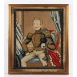 19th Century woolwork picture depicting Prince Albert in a seated position, housed in a gilt