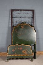 Late 19th/ early 20th century chinoiserie single bed frame, in the Chinese taste, painted with a