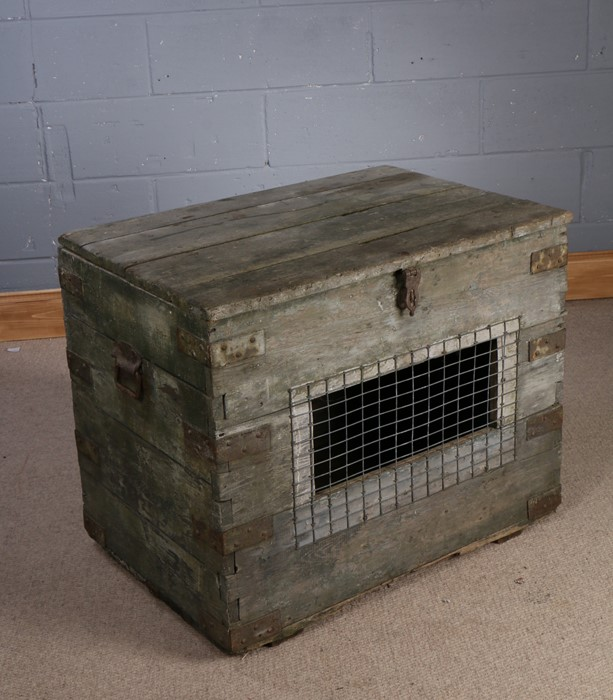 Folk art scratch built broody coop, with pale green colour to the hinged lid, the front of the