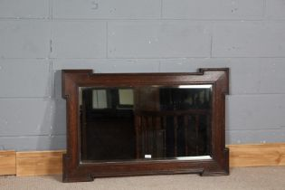 1920's oak geometric framed wall mirror, with bevelled glass mirror, impressed number R02 8 52 J2221