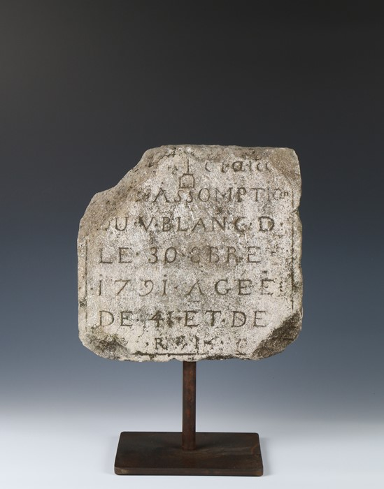 French 18th Century carved stone tablet, circa 1791, the stone section with the text ....
