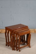 20th century Indian hardwood quartetto nest of occasional tables, each with brass inlaid tops and