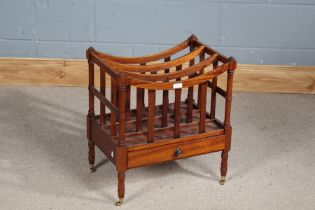 George III style mahogany canterbury, with four divisions, fitted single drawer and raised on