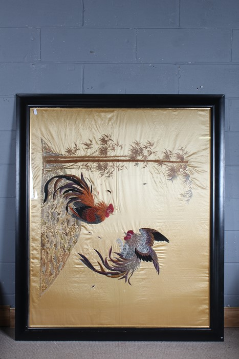 Large 19th Century oriental silk embroidered panel, 'A pair of fighting cocks', housed in an