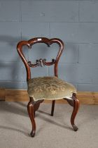 Victorian mahogany dining chair, with arched top rail, scroll carved splat back, serpentine front