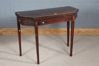 Early 19th century mahogany and boxwood card table, the hinged top with chamfered corners