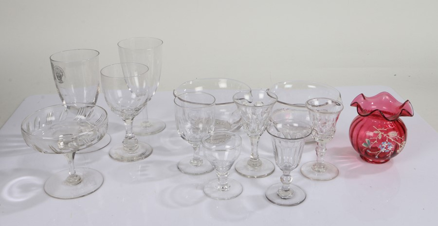 Quantity of 19th Century and later glass ware, to include two rinsers, various drinking glasses, a