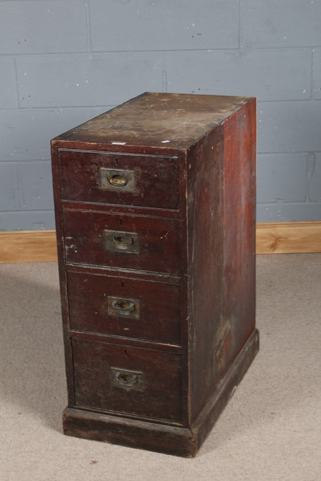Late 19th century mahogany and pine chest, fitted four graduating drawers with sunken brass handles,