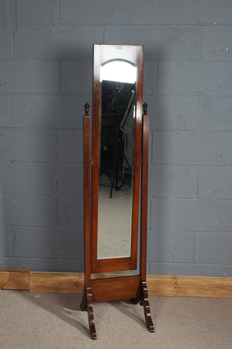 20th Century mahogany cheval mirror, with bevelled plate glass, 168cm high
