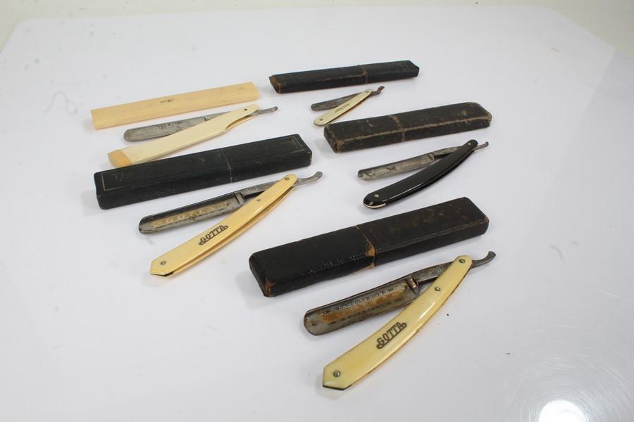 """Five 19th Century razors, to include """"Corn Razor"""" in a non-contemporary slip case, Crown & Sword"""