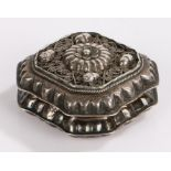 19th Century Continental silver box and cover, the lid with cast acorn, foliate and scroll