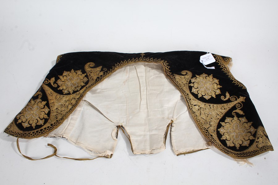 19th Century Turkish bullion jacket, in black with gold coloured stitching