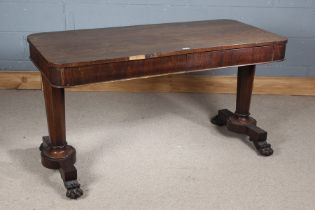 Victorian rosewood centre table, the plain rectangular top with rounded corners above a single