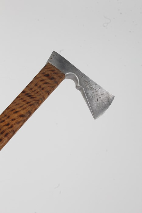 Ciupaga walking stick, with axe form head above a tapering handle with scorched decoration, 85.5cm