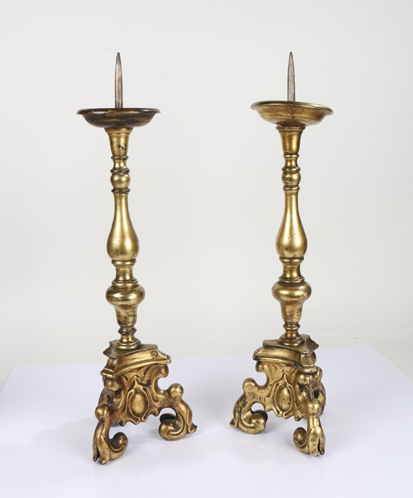 Pair 18th Century gilt bronze pricket altar sticks, with knobbed stems and trefoil scroll legs, 60cm - Image 2 of 2