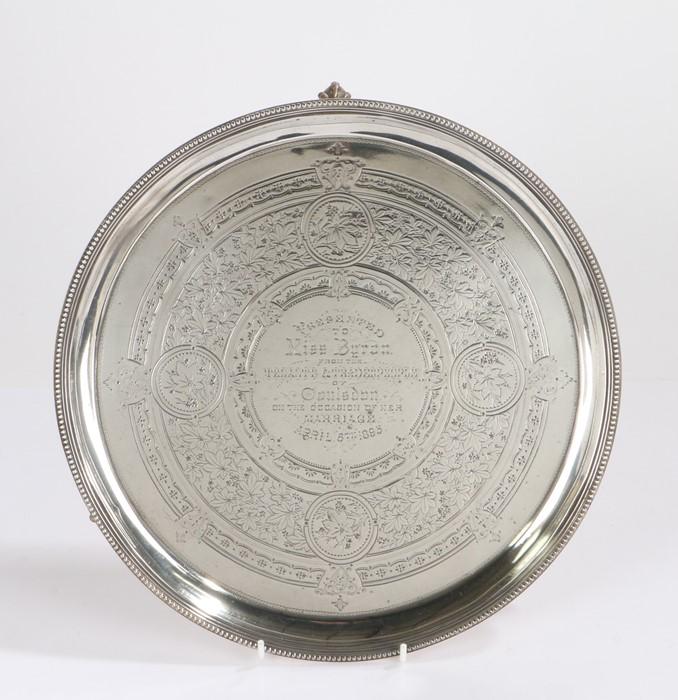 Victorian silver tray, London 1886, maker Martin, Hall & Co (Richard Martin & Ebenezer Hall), the