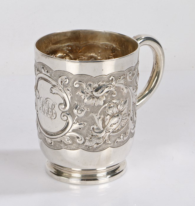 Edward VII silver christening cup, London 1908, maker Elkington & Co. the body with embossed foliate