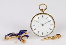 Late 19th century French gold, blue enamel and diamond set pendant fob watch, by Le Roy & Fils,