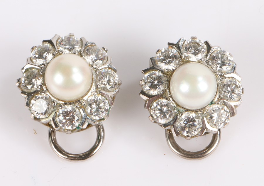 Pair of diamond and pearl earrings, eight diamonds surrounding a central pearl (2)