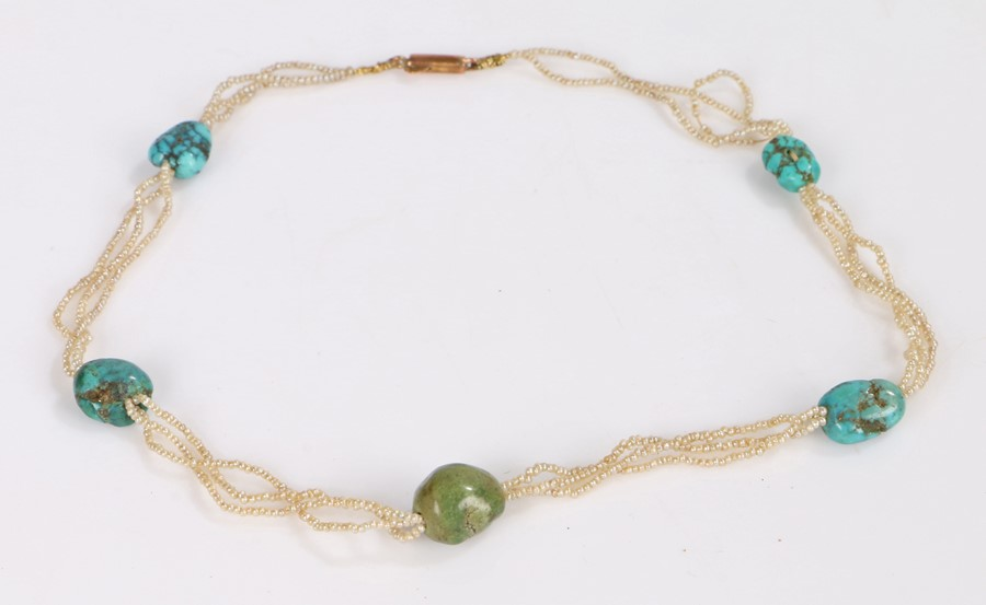 Victorian seed pearl and turquoise necklace, with three strands interspersed with turquoise
