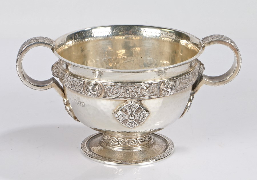George V silver Celtic design twin handled cup, London 1913, makers mark rubbed but with retailers