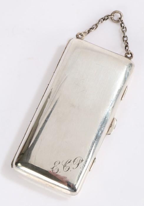 George V silver powder compact and cigarette case, Birmingham 1912, makerHenry Williamson Ltd, of