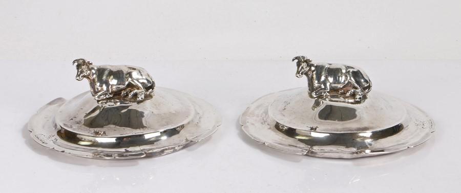 Pair of Victorian silver butter dish lids, London 1867, maker Edward, John & William Barnard, with