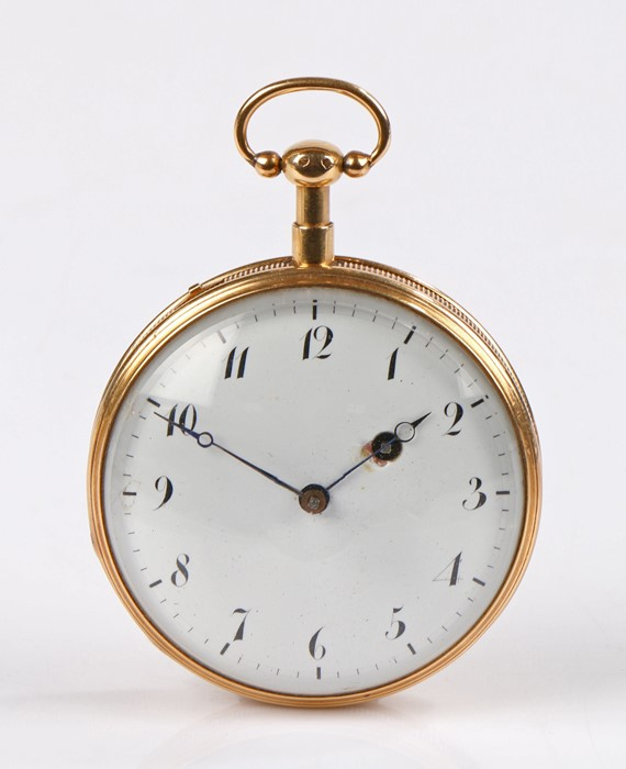 French gold cased repeater open face pocket watch, the white enamel dial with Arabic numerals, key