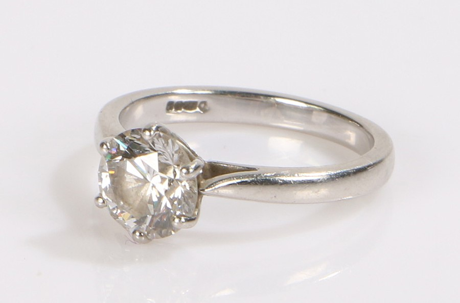 Platinum and set diamond solitaire ring, the diamond at approximately 2.0 carat with a six claw