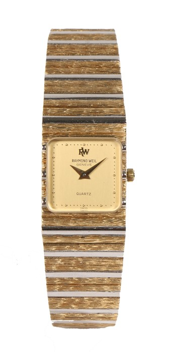 Raymond Weil ladies gold plated wristwatch, the signed gilt and silvered rectangular dial with