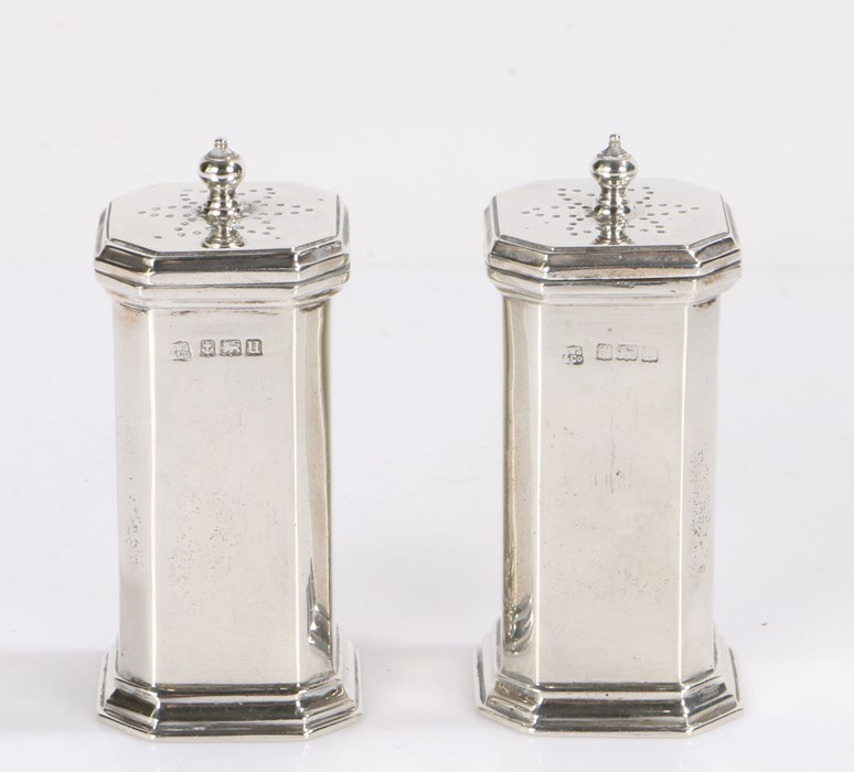 Pair of George V silver pepperettes, Birmingham 1919, maker S W Smith & Co, of square form with