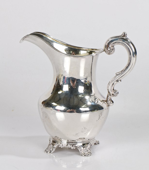 Victorian silver milk jug, London 1849, maker Richard Pearce & George Burrows, with double scroll